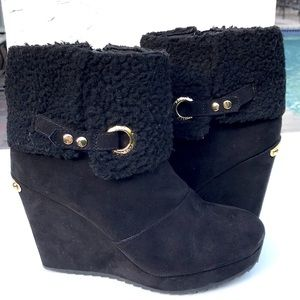 Juicy Couture fur lined platform ankle boo…